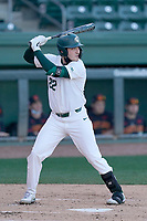 Second baseman Bailey Peterson (22) of the Michigan State Spartans bats in a game against the Maryland Terrapins on Saturday, March 6, 2021, at Fluor Field at the West End in Greenville, South Carolina. (Tom Priddy/Four Seam Images)