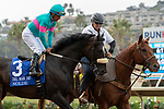DEL MAR, CA  SEPTEMBER 1: #3 Nolde, ridden by Victor Espinoza, in the post parade of the Del Mar Derby (Grade ll) on September 1, 2019 at Del Mar Thoroughbred Club in Del Mar, CA. ( Photo by Casey Phillips/Eclipse Sportswire/CSM)