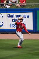 St. Louis Cardinals outfielder Dylan Carlson (3) catches a fly ball during a Major League Spring Training game against the New York Mets on March 19, 2021 at Clover Park in St. Lucie, Florida.  (Mike Janes/Four Seam Images)
