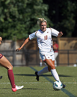 Boston College midfielder Gibby Wagner (10) brings the ball forward. Virginia Tech (maroon) defeated Boston College (white), 1-0, at Newton Soccer Field, on September 22, 2013.
