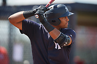 New York Yankees Dermis Garcia (47) at bat during a Florida Instructional League game against the Philadelphia Phillies on October 11, 2018 at Yankee Complex in Tampa, Florida.  (Mike Janes/Four Seam Images)