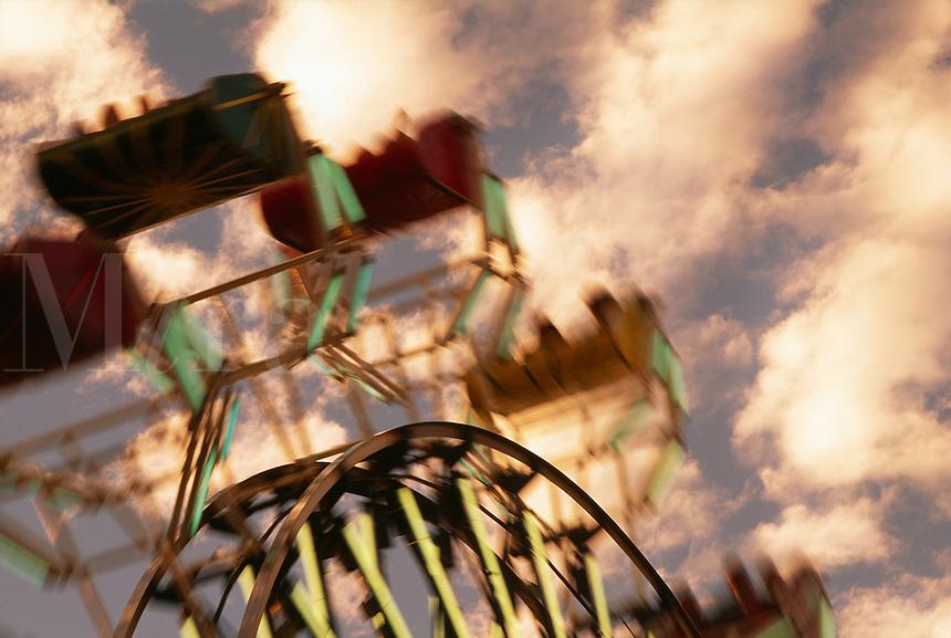 Ferris wheel in motion.