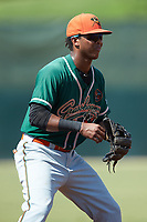 Greensboro Grasshoppers third baseman Marcos Rivera (11) on defense against the Kannapolis Intimidators at Kannapolis Intimidators Stadium on August 5, 2018 in Kannapolis, North Carolina. The Intimidators defeated the Grasshoppers 9-0 in game two of a double-header.  (Brian Westerholt/Four Seam Images)