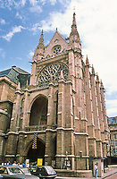 Paris: LaSainte-Chapelle 1246-1248. Gothic design.Erected by King  Louis IX  to house the Crown of Thorns. Photo '87.