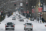 Winter storm of 2008 on burnside, downtown Portland, Oregon