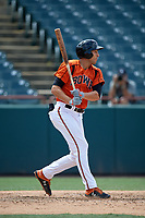 Bowie Baysox Ryan Ripken (22) hits a single during an Eastern League game against the Binghamton Rumble Ponies on August 21, 2019 at Prince George's Stadium in Bowie, Maryland.  Bowie defeated Binghamton 7-6 in ten innings.  (Mike Janes/Four Seam Images)