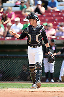 Kane County Cougars catcher Cael Brockmeyer (9) during a game against the Quad Cities River Bandits on August 20, 2014 at Third Bank Ballpark in Geneva, Illinois.  Kane County defeated Burlington 7-3.  (Mike Janes/Four Seam Images)