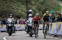 Roman Kreuziger (CZE/Mitchelton Scott) and Enrico Gasparotto (ITA/Bahrain Merida) powering up on the 3th and last passage on the Cauberg. <br /> <br /> 53th Amstel Gold Race (1.UWT)<br /> 1 Day Race: Maastricht > Berg en Terblijt (263km)