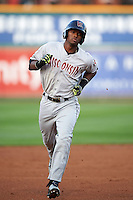 Wisconsin Timber Rattlers outfielder Luis Aviles (3) runs the bases after hitting a home run during a game against the Peoria Chiefs on August 21, 2015 at Dozer Park in Peoria, Illinois.  Wisconsin defeated Peoria 2-1.  (Mike Janes/Four Seam Images)
