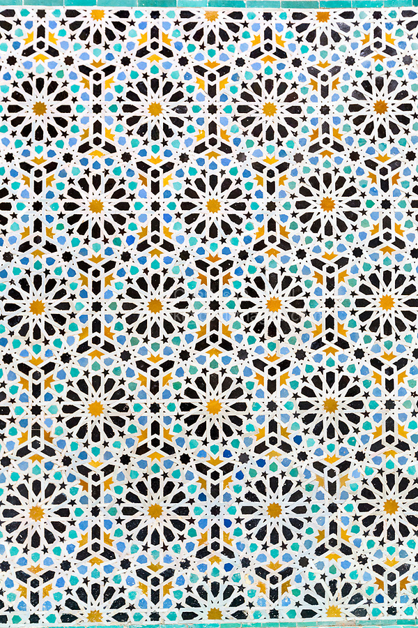 Fes, Morocco.  Attarine Medersa, 14th. Century.  Geometric Mosaic Tile Design.