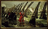 Europe/France/Poitou-Charentes/17/Charente-Maritime/La Rochelle: Richelieu sur la digue de la Rochelle - Tableau d' Henri Motte au  Musée  d'Orbigny-Bernon