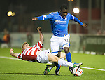 Hamilton Accies v St Johnstone...24.09.13      League Cup<br /> Ziggy Gordon tackles Nigel Hasselbaink<br /> Picture by Graeme Hart.<br /> Copyright Perthshire Picture Agency<br /> Tel: 01738 623350  Mobile: 07990 594431