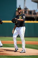 Pittsburgh Pirates starting pitcher Ivan Nova (46) waits to receive the ball back from the catcher during a Grapefruit League Spring Training game against the New York Yankees on March 6, 2017 at LECOM Park in Bradenton, Florida.  Pittsburgh defeated New York 13-1.  (Mike Janes/Four Seam Images)