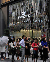 A queue outside Swarovski in Tokyo Japan..