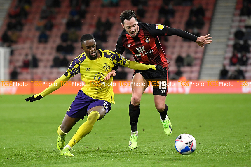 Adam Smith of AFC Bournemouth vies with Adama Diakhaby of Huddersfield Town during AFC Bournemouth vs Huddersfield Town, Sky Bet EFL Championship Football at the Vitality Stadium on 12th December 2020