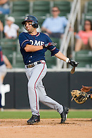 Ryan Barba #6 of the Rome Braves follows through on his swing versus the Kannapolis Intimidators at Fieldcrest Cannon Stadium July 26, 2009 in Kannapolis, North Carolina. (Photo by Brian Westerholt / Four Seam Images)
