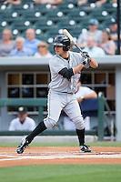 Max Moroff (2) of the Indianapolis Indians at bat against the Charlotte Knights at BB&T BallPark on June 17, 2016 in Charlotte, North Carolina.  The Knights defeated the Indians 4-0.  (Brian Westerholt/Four Seam Images)