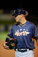Tampa Yankees coach Eric Duncan (7) during the Florida State League All-Star Game on June 17, 2017 at Joker Marchant Stadium in Lakeland, Florida.  FSL North All-Stars defeated the FSL South All-Stars  5-2.  (Mike Janes/Four Seam Images)