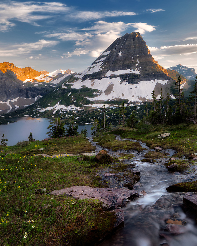 Stream and Bearhat Mountain. Overlook at Glacier National Park, Montana Glacier National Park, Montana