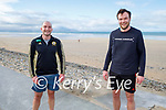 Enjoying a stroll and ready for a swim in Banna beach on Saturday, l to r: Eoin Galvin and Donal Moynihan.