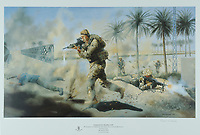 BNPS.co.uk (01202 558833)<br /> Pic: DixNoonanWebb/BNPS<br /> <br /> Pictured: A painting of then Corporal Shaun Jardine in Iraq in 2003.<br /> <br /> An Iraq War hero who served 21 years in the army today sold his gallantry medal for £140,000 so he can get on the property ladder.<br /> <br /> Warrant Officer Shaun Jardine, who served in the King's Own Scottish Borderers regiment, was awarded the prestigious Conspicuous Gallantry Cross for risking his life by single-handedly storming two enemy positions in 2003.<br /> <br /> The 21-year-old soldier, from Dumfries, found himself pinned down with no reinforcements during a patrol near Al Uzayr security base, Maysan Province.