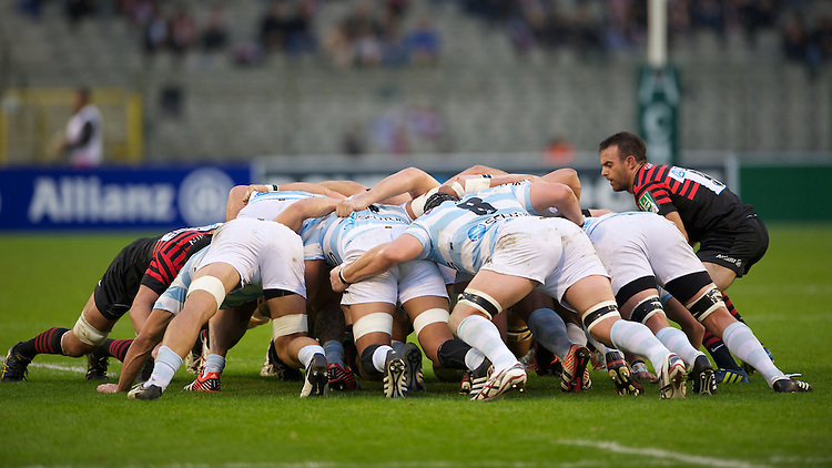 20121020 Copyright onEdition 2012©.Free for editorial use image, please credit: onEdition..General view of a scrum during the Heineken Cup Round 2 match between Saracens and Racing Metro 92 at the King Baudouin Stadium, Brussels on Saturday 20th October 2012 (Photo by Rob Munro)..For press contacts contact: Sam Feasey at brandRapport on M: +44 (0)7717 757114 E: SFeasey@brand-rapport.com..If you require a higher resolution image or you have any other onEdition photographic enquiries, please contact onEdition on 0845 900 2 900 or email info@onEdition.com.This image is copyright the onEdition 2012©..This image has been supplied by onEdition and must be credited onEdition. The author is asserting his full Moral rights in relation to the publication of this image. Rights for onward transmission of any image or file is not granted or implied. Changing or deleting Copyright information is illegal as specified in the Copyright, Design and Patents Act 1988. If you are in any way unsure of your right to publish this image please contact onEdition on 0845 900 2 900 or email info@onEdition.com