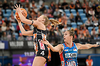 6th June 2021; Ken Rosewall Arena, Sydney, New South Wales, Australia; Australian Suncorp Super Netball, New South Wales, NSW Swifts versus Giants Netball; Maddie Hay of the Giants Netball catches the ball under pressure from Paige Hadley of NSW Swifts
