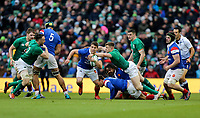Sunday10th March 2019 | Ireland vs France<br /> <br /> Antoine Dupont is tackled high by Garry Ringrose during the Guinness 6 Nations clash between Ireland and France at the Aviva Stadium, Lansdowne Road, Dublin, Ireland. Photo by John Dickson / DICKSONDIGITAL