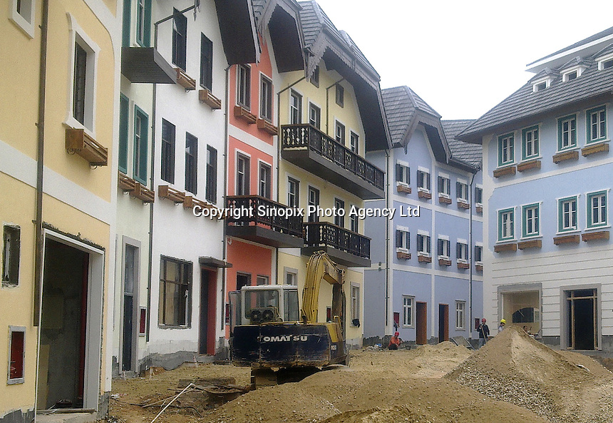20120116 CHINA GUANGDONG PROVINCE : A street view of Hallstatt, China's copy of the Austrian alpine town of the same name, Boluo Township, Huizhou City, Guangdong Province, China, 16 January 2012. Property developments such as this are expected to run into financial difficulites in 2012 as the Chinese economy and property market continue to cool, in reaction to the ongoing sovereign debt crisis in Europe.<br /> SINOPIX / STR