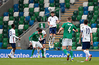 BELFAST, NORTHERN IRELAND - MARCH 28: Matt Miazga #4 of the United States goes up for a header during a game between Northern Ireland and USMNT at Windsor Park on March 28, 2021 in Belfast, Northern Ireland.