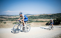 (former winner) Zdenek Stybar (CZE/Deceuninck - QuickStep) is hurting the defending champion (& teammate) Julian Alaphilippe (FRA/Deceuninck - QuickStep)<br /> <br /> 14th Strade Bianche 2020<br /> Siena > Siena: 184km (ITALY)<br /> <br /> delayed 2020 (summer!) edition because of the Covid19 pandemic > 1st post-Covid19 World Tour race after all races worldwide were cancelled in march 2020 by the UCI