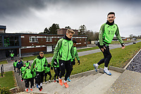 Matt Grimes (R) leads team mates to the training pitch during the Swansea City Training Session at The Fairwood Training Ground, Swansea, Wales, UK. Wednesday 11 March 2020