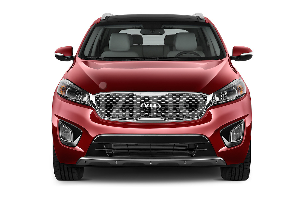 Car photography straight front view of a 2016 KIA Sorento SX AT 5 Door SUV Front View