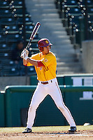 A.J. Ramirez #10 of the USC Trojans bats against the Cal State Northridge Matadors at Dedeaux Field on February 24, 2013 in Los Angeles, California. (Larry Goren/Four Seam Images)