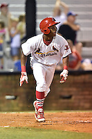 Johnson City Cardinals center fielder Magneuris Sierra #31 runs to first during a game against the Danville Braves at Howard Johnson Field September 4, 2014 in Johnson City, Tennessee. The Braves defeated the Cardinals 6-1. (Tony Farlow/Four Seam Images)