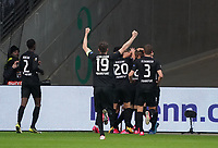 celebrate the goal, Torjubel zum 1:0 um Daichi Kamada (Eintracht Frankfurt) mit David Abraham (Eintracht Frankfurt), Makoto Hasebe (Eintracht Frankfurt), Stefan Ilsanker (Eintracht Frankfurt) - 20.02.2020: Eintracht Frankfurt vs. RB Salzburg, UEFA Europa League, Hinspiel Round of 32, Commerzbank Arena DISCLAIMER: DFL regulations prohibit any use of photographs as image sequences and/or quasi-video.