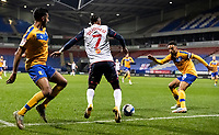 Bolton Wanderers' Nathan Delfouneso competing with Mansfield Town's James Perch (right) <br /> <br /> Photographer Andrew Kearns/CameraSport<br /> <br /> The EFL Sky Bet League Two - Bolton Wanderers v Mansfield Town - Tuesday 3rd November 2020 - University of Bolton Stadium - Bolton<br /> <br /> World Copyright © 2020 CameraSport. All rights reserved. 43 Linden Ave. Countesthorpe. Leicester. England. LE8 5PG - Tel: +44 (0) 116 277 4147 - admin@camerasport.com - www.camerasport.com