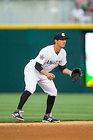 Charlotte Knights shortstop Tyler Saladino (8) on defense against the Rochester Red Wings at BB&T Ballpark on June 5, 2014 in Charlotte, North Carolina.  The Knights defeated the Red Wings 7-6.  (Brian Westerholt/Four Seam Images)