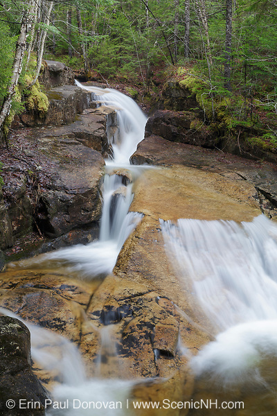 Shell Cascade in Waterville Valley, New Hampshire during the spring months. Located on Hardy Brook, visitors to the Waterville Valley area have been visiting this waterfall since the 1800s. But no official trail leads to this waterfall today, and during times of high water it can be difficult to reach Hardy Brook.