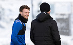 St Johnstone Training…<br />James Brown pictured with coach Alec Cleland during training ahead of Sundays game against Celtic.<br />Picture by Graeme Hart.<br />Copyright Perthshire Picture Agency<br />Tel: 01738 623350  Mobile: 07990 594431