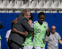 GRENOBLE, FRANCE - JUNE 12: Thomas Dennerby celebrates with Desire Oparanozie #9 of the Nigerian National Team during a game between Korea Republic and Nigeria at Stade des Alpes on June 12, 2019 in Grenoble, France.
