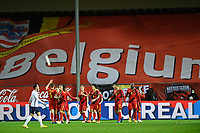 15th November 2020; Leuven, Belgium;   Youri Tielemans midfielder of Belgium celebrates scoring the opening goal with teammates during the UEFA Nations League match group stage final tournament - League A - Group 2 between Belgium and England