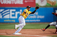 Erie SeaWolves third baseman Isaac Paredes (18) stretches for a throw during an Eastern League game against the Altoona Curve and on June 4, 2019 at UPMC Park in Erie, Pennsylvania.  Altoona defeated Erie 3-0.  (Mike Janes/Four Seam Images)