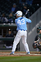 Brendan Illies (43) of the North Carolina Tar Heels at bat against the Charlotte 49ers at BB&T BallPark on March 27, 2018 in Charlotte, North Carolina. The Tar Heels defeated the 49ers 14-2. (Brian Westerholt/Four Seam Images)