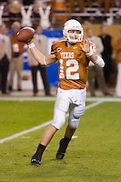 04 November 2006: Texas quarterback Colt McCoy hurls a pass during the Longhorns 36-10 victory over the Oklahoma State University Cowboys at Darrel K Royal Memorial Stadium in Austin, Texas.