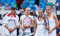 Bratislava, Slovenia, April 23, 2017,  FedCup: Slovakia-Netherlands, Dubbles, ltr: Hantuchova/Sramkova  vs Burger/Rus (NED)<br /> Photo: Tennisimages/Henk Koster