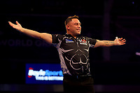 9th October 2021; Morningside Arena, Leicester, England; PDC BoyleSports Darts World Grand Prix finals ;  Gerwen Price celebrates winning the fourth set against Jonny Clayton