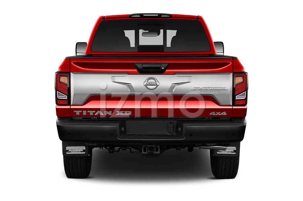 Straight rear view of 2021 Nissan Titan-XD Platinum-Reserve 4 Door Pick-up Rear View  stock images