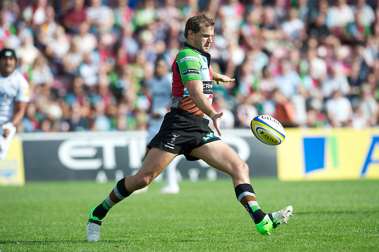 Nick Evans of Harlequins clears his line during the Aviva Premiership match between Harlequins and Sale Sharks at The Twickenham Stoop on Saturday 15th September 2012 (Photo by Rob Munro)