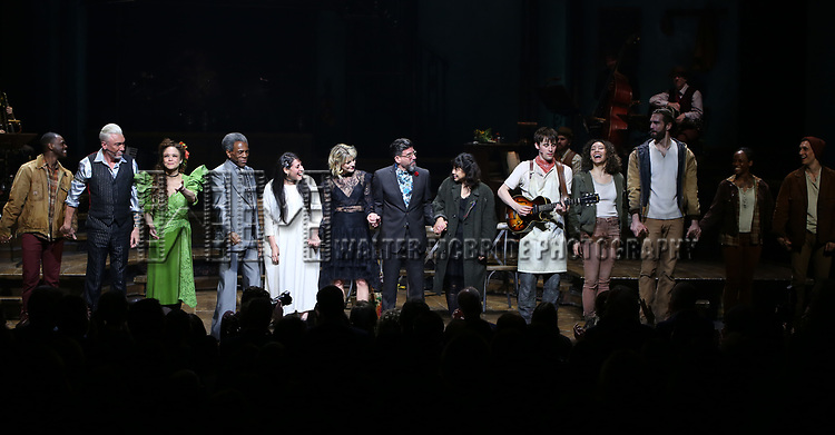 Patrick Page, Amber Gray, Andre De Shields, Rachel Clavkin, Anais Mitchell, David Neumann, Eva Noblezada, Reeve Carney, Afra Hines and Timothy Hughes with cast during Broadway Opening Night Performance Curtain Call for 'Hadestown' at the Walter Kerr Theatre on April 17, 2019 in New York City.